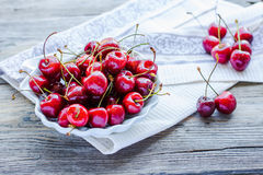 Fresh red cherry in a plate,healthy snack, summer, selective foc Royalty Free Stock Image