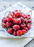 Fresh red cherry in a plate,healthy snack, summer, selective foc Royalty Free Stock Photo