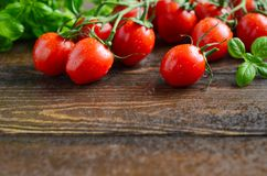 Fresh red cherry tomatoes with basil on a rustic wooden background. Fresh red cherry tomatoes with basil on a rustic wooden background, selective focus, copy Royalty Free Stock Photography