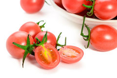 Fresh red cherry tomatoes. Isolated on white background Royalty Free Stock Photography