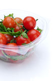 Fresh Red Cherry Tomatoes in Plastic Container Royalty Free Stock Photography