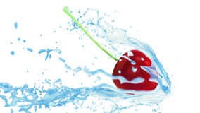 Fresh red cherry touches the water flow, creating splashes Royalty Free Stock Photography