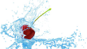 Fresh red cherry touches the water flow, creating splashes Stock Images