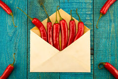 Fresh red chili pepper in a blue envelope on wooden background Stock Photography