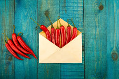 Fresh red chili pepper in a blue envelope on wooden background Royalty Free Stock Image