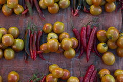 Fresh red chili pepper and tomato. Fresh red pepper and tomato that sell in traditional market Royalty Free Stock Image