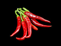 Fresh red Chili Peppers on black Stock Photography