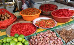 Fresh red chili peppers on the street market in China. Royalty Free Stock Photo