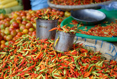 Fresh red chili peppers on Tomohon Traditional Market Royalty Free Stock Images