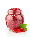 Fresh red currant with green leaf in glass jar Stock Photography