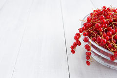 Fresh red currant on the light wooden background Royalty Free Stock Photography