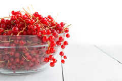 Fresh red currant on the light wooden background Royalty Free Stock Images