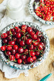 Fresh red currant on wooden table, bucket with red currant berri. Es on a garden table Royalty Free Stock Image