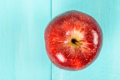Fresh Red Delicious Apple On Turquoise Table Stock Photo