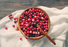 Fresh red forest cranberry in a round bowl with a wooden spoon on white linen fabric on a table surface Royalty Free Stock Images