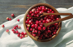 Fresh red forest cranberry in a round bowl with a wooden spoons Royalty Free Stock Photo