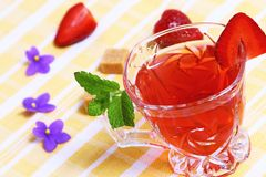 Red fruit tea with mint Stock Images
