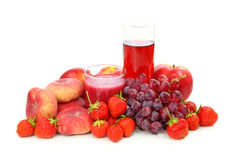 Fresh red fruits and juice Stock Images