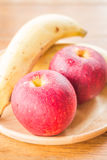 Fresh red gala apples and banana Royalty Free Stock Photography