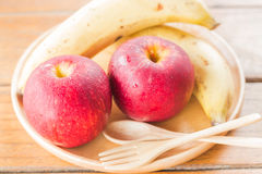 Fresh red gala apples and banana Stock Photo