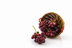 Fresh Red Grape in basket. Stock Photos