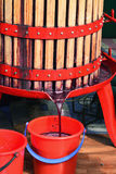 Fresh red grape juice is flowing into a bucket from a basket press Stock Image