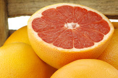 Fresh red grapefruits and a cut one Stock Image