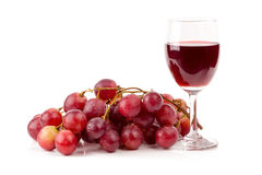 Fresh red grapes  and glasses of red wine isolated on white back Royalty Free Stock Photo