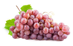 Fresh red grapes with leaves. Isolated on white Royalty Free Stock Photos
