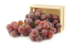 Fresh red grapes on the vine in a wooden crate Stock Images