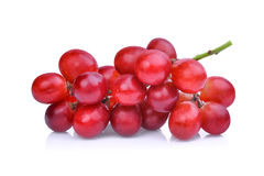 Fresh red grapes with water drops isolated on white Stock Images