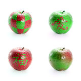 Fresh red and green apple Stock Image