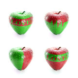 Fresh red and green apple. Illustration of a set of heart shape red-green apple represent love Royalty Free Stock Images