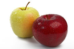 Fresh Red and green apple with water drops Royalty Free Stock Images