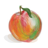 Fresh red-green apple. On white background. Hand-drawn vector. Additional format contained transparency (EPS 10 Royalty Free Stock Images