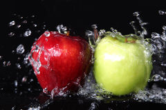 Fresh red and green apples Stock Photos