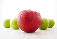 Fresh red and green apples Stock Images