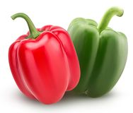 Fresh red and green bell peppers Stock Photos