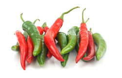 Fresh red and green cayenne pepper Stock Images