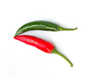 Fresh red and green chilli. On a white background stock image