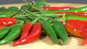 Fresh red and green chilli stock footage