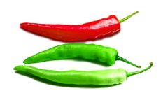 The fresh  red and green chilli on white isolate background Royalty Free Stock Photo