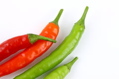 Fresh red and green chillies royalty free stock images