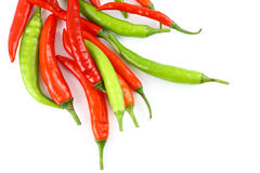 Fresh red and green chillies Stock Image