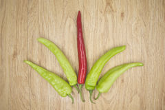 Fresh red and green goat pepper Royalty Free Stock Images