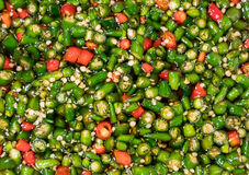 Fresh red and green Thai chili in fish sauce. Close up sliced ch Royalty Free Stock Photos