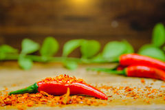 Free Fresh Red Hot Chili Peppers On Chilli Dried Chopped With Rustic Wood Background. Concept Of Hot Food And Vegetable Stock Photography - 87068082