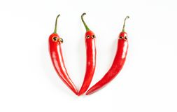 Fresh red hot chili peppers  set Royalty Free Stock Photos