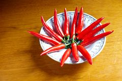 Fresh red hot chili peppers  set Royalty Free Stock Photo