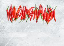Fresh red hot pepper. On white rustic background royalty free stock image